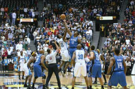 Hosted NBA exhibition game between the Orlando Magic and New Orleans Hornets